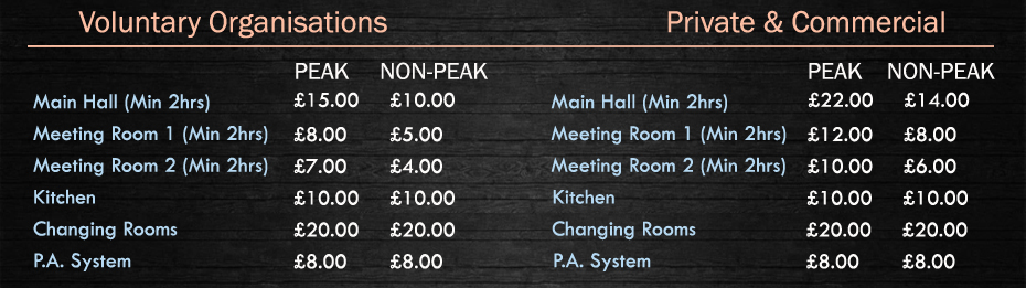 Table of fees for hire of the main hall and meeting rooms